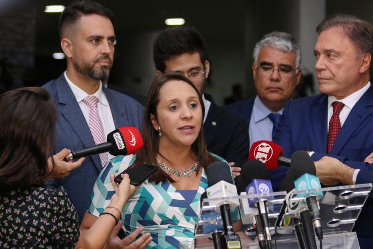 Parlamentares do Podemos manifestaram apoio ao ministro da Saúde, Luiz Henrique Mandetta, demitido do cargo pelo presidente da República Jair Bolsonaro - Foto: Saulo Rolim