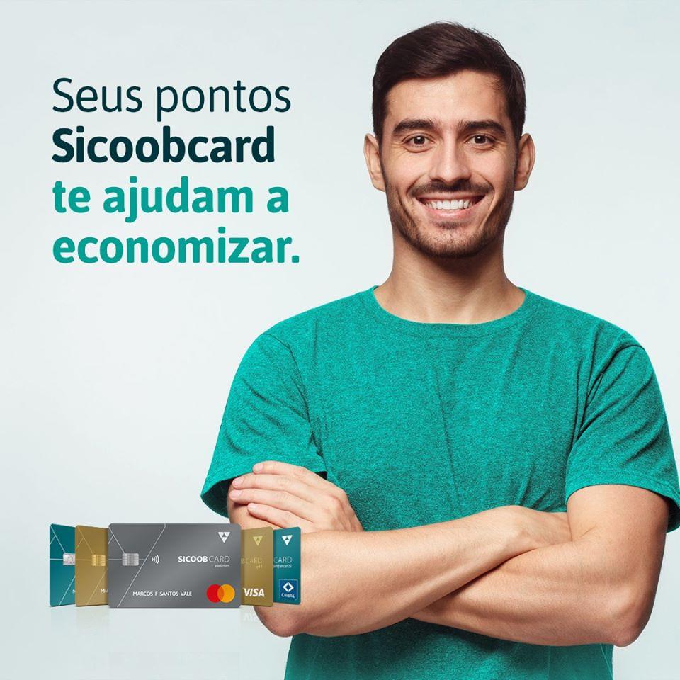 O programa oferece desconto de verdade na fatura Sicoobcard, trocando pontos acumulados a cada compra por crédito diretamente na conta final do cartão