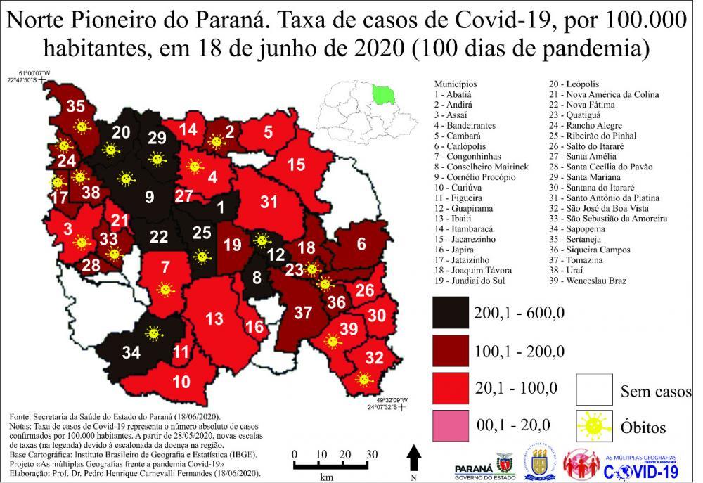 Mapa da região Norte do Paraná e gráfico da covid-19 em cada município - Ilustração