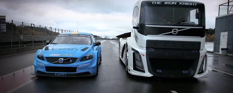 Vídeo da Volvo mostra embate entre caminhão de 2 mil cv e carro de corrida